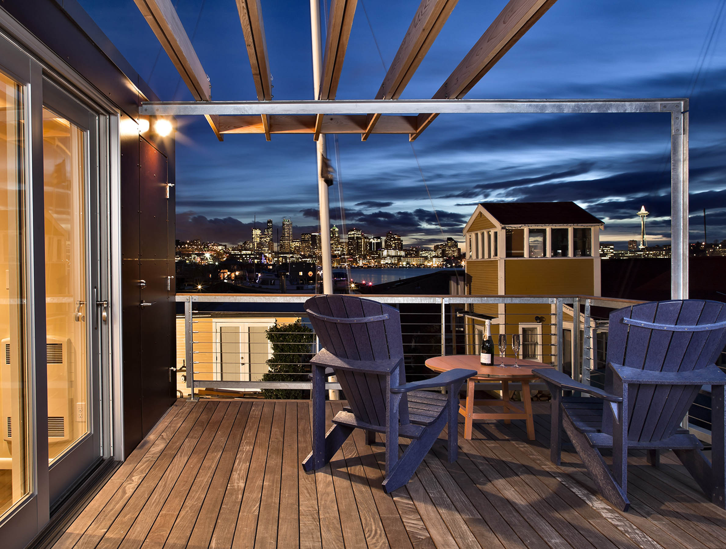 Image of newly designed second deck of floating home addition performed by Seattle Architect - Bruce Donnally at Donnally Architects