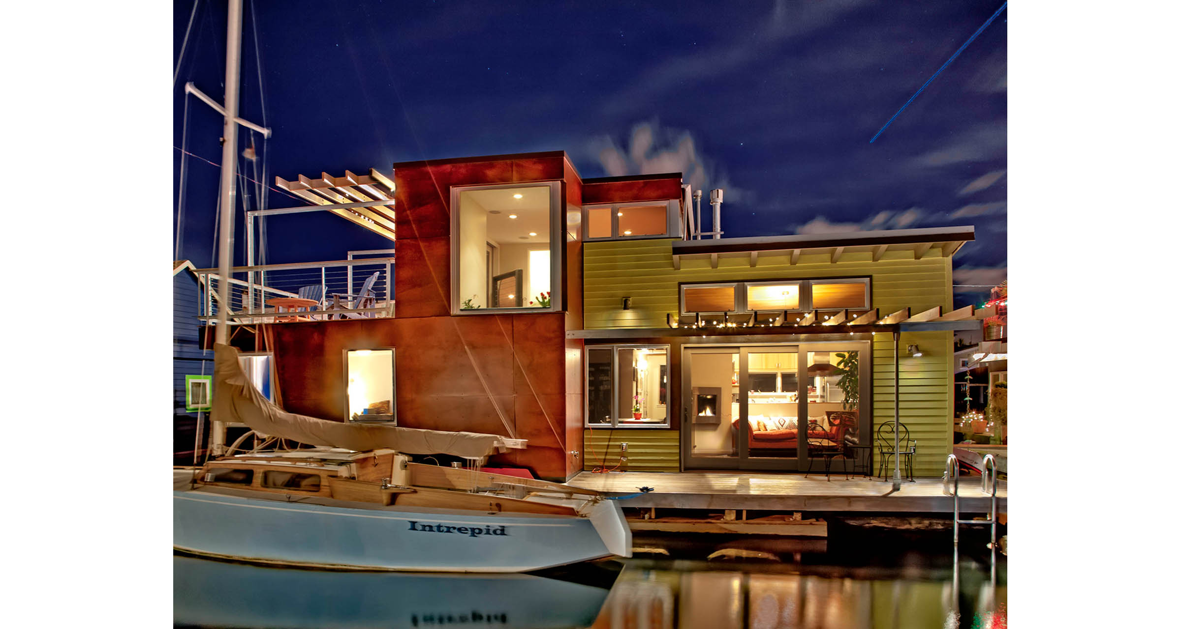 Image of exterior of remodeled floating home performed by residential architecture firm Donnally Architects in Seattle, Washington